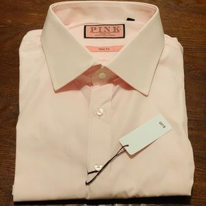 NWT Thomas Pink Slim Fit Dress Shirt 17.5